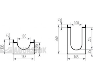 Лоток водоотводный бетонный ЛВБ Optima 100 №0/1 тип 1